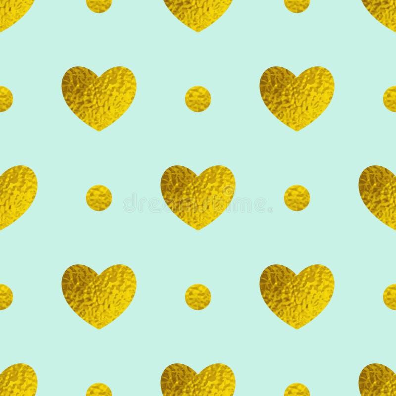 Modelo inconsútil con los corazones brillantes de oro en un fondo verde ilustración del vector