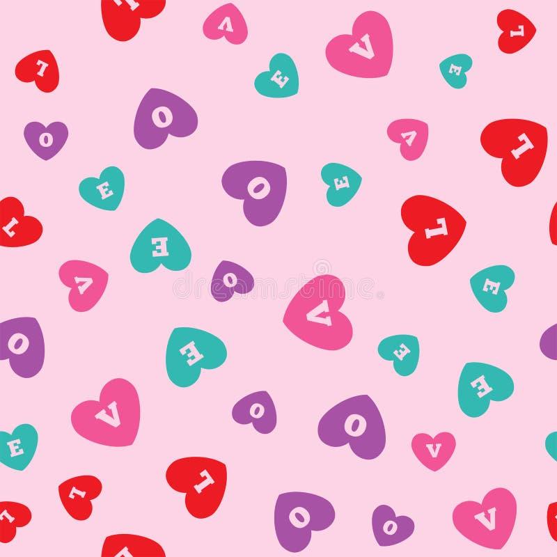 Modelo inconsútil con los corazones coloreados con las letras L, O, V, E Impresi?n rom?ntica Ilustraci?n del vector libre illustration