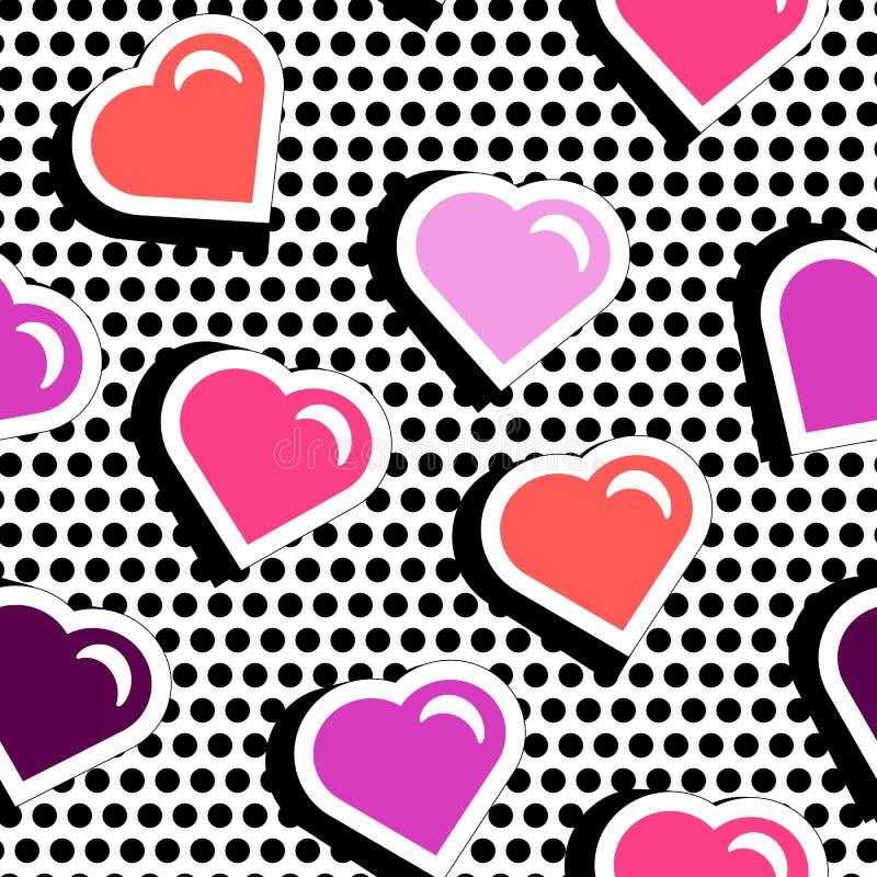 Modelo inconsútil con los corazones coloridos de la forma de la insignia en fondo manchado negro libre illustration