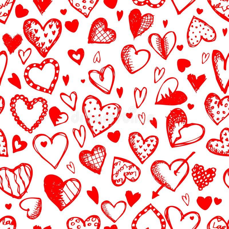 Modelo inconsútil con los corazones de la tarjeta del día de San Valentín ilustración del vector