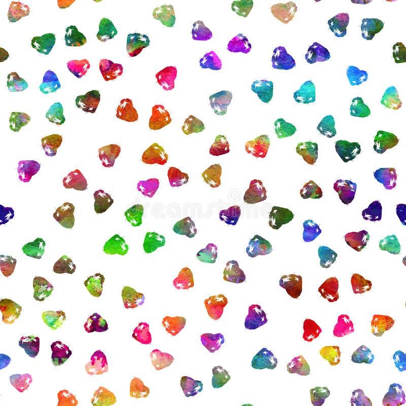 Modelo inconsútil con los corazones del cepillo Color del arco iris en el fondo blanco Textura pintada a mano del granero Element libre illustration