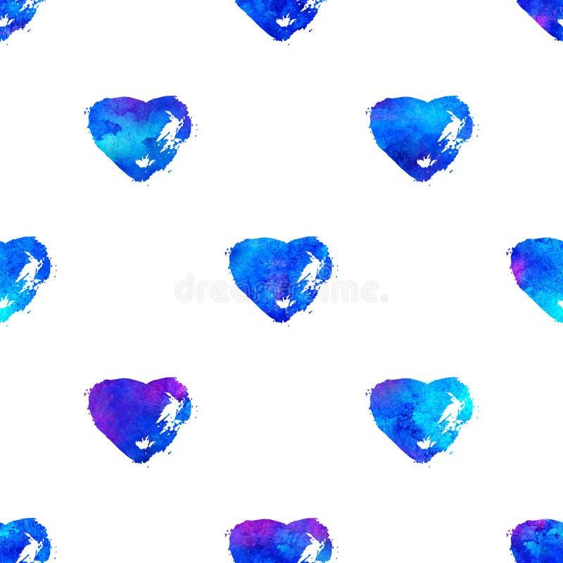 Modelo inconsútil con los corazones del cepillo Color azul en el fondo blanco Textura pintada a mano del granero Elementos del gr stock de ilustración