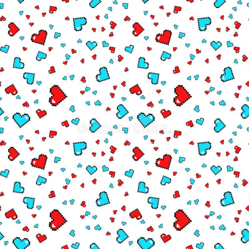 Modelo inconsútil con los corazones del pixel Rose roja Fondo del vector libre illustration