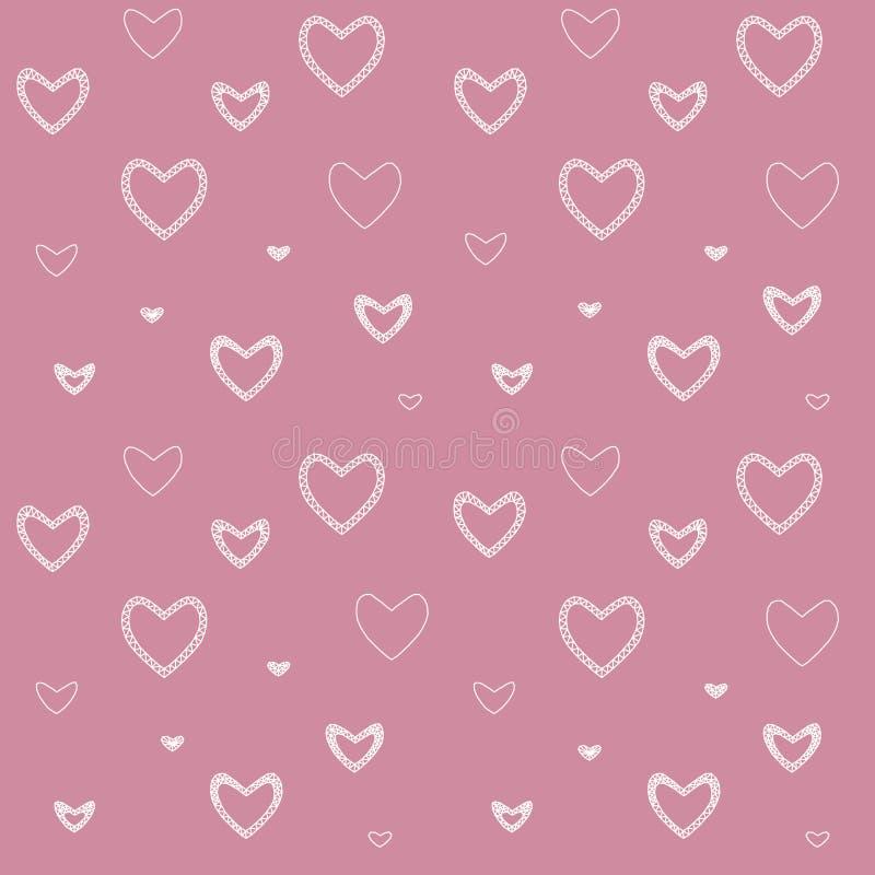 Modelo inconsútil con los corazones del ` s de la tarjeta del día de San Valentín del mosaico ilustración del vector