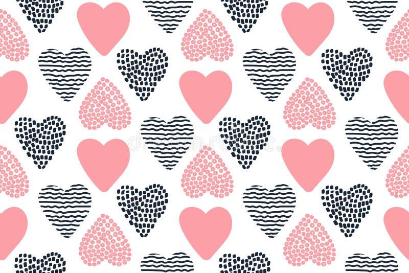 Modelo inconsútil con los corazones dibujados mano de la tarjeta del día de San Valentín libre illustration