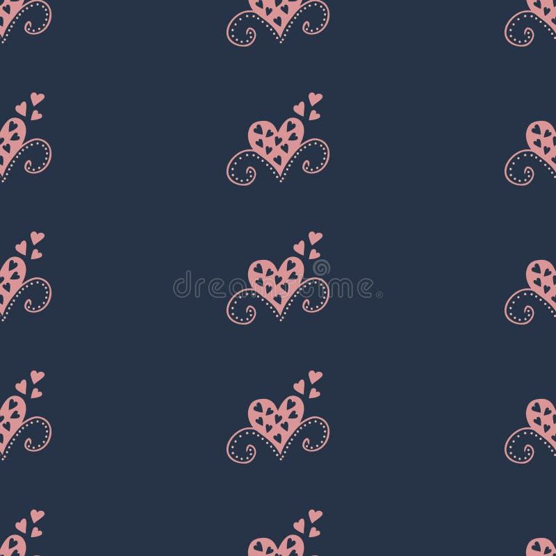 Modelo inconsútil con los corazones Ejemplo de las cortinas ilustración del vector