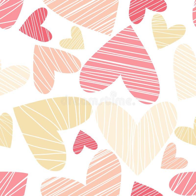 Modelo inconsútil con los corazones El arte se puede utilizar para el embalaje del día de fiesta ilustración del vector