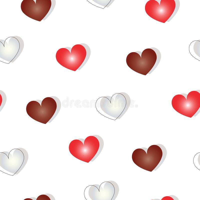 Modelo inconsútil con los corazones en los colores rojo marrón y de marfil - tema de día de San Valentín libre illustration