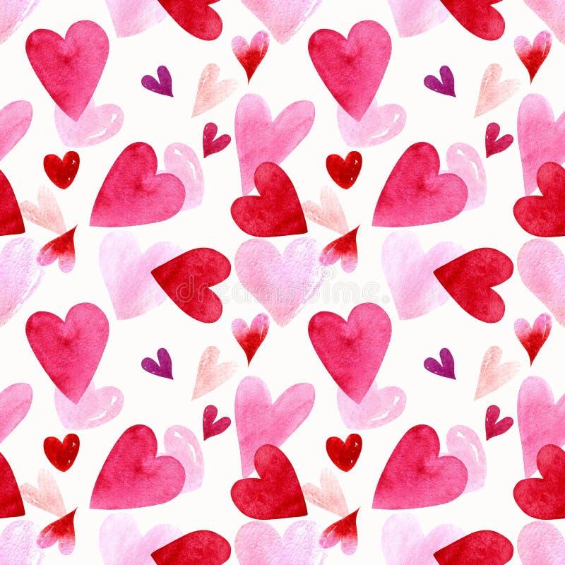 Modelo inconsútil con los corazones en el ejemplo blanco de la acuarela del fondo Rose roja ilustración del vector