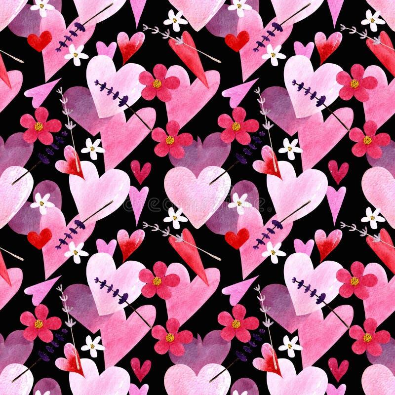 Modelo inconsútil con los corazones, flores, hierbas, hojas en el ejemplo negro de la acuarela del fondo stock de ilustración