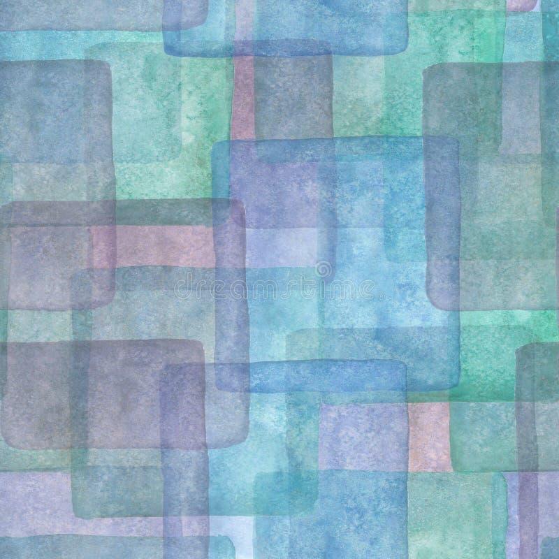 Modelo inconsútil con los cuadrados coloridos Acuarela azul, púrpura y fondo de la turquesa libre illustration