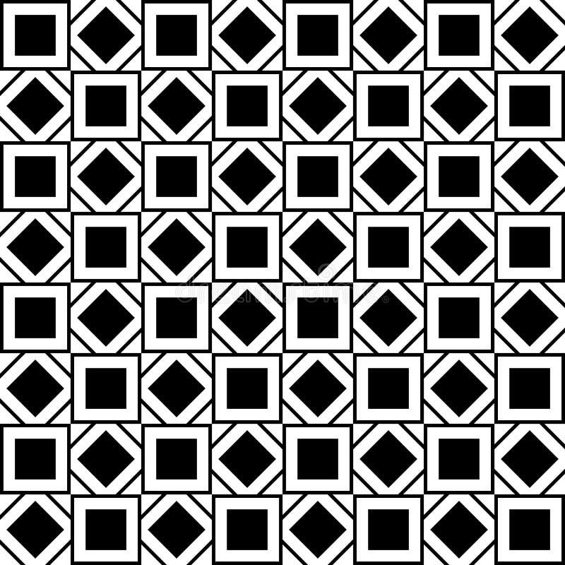 Modelo inconsútil con los cuadrados y los Rhombus blancos y negros libre illustration
