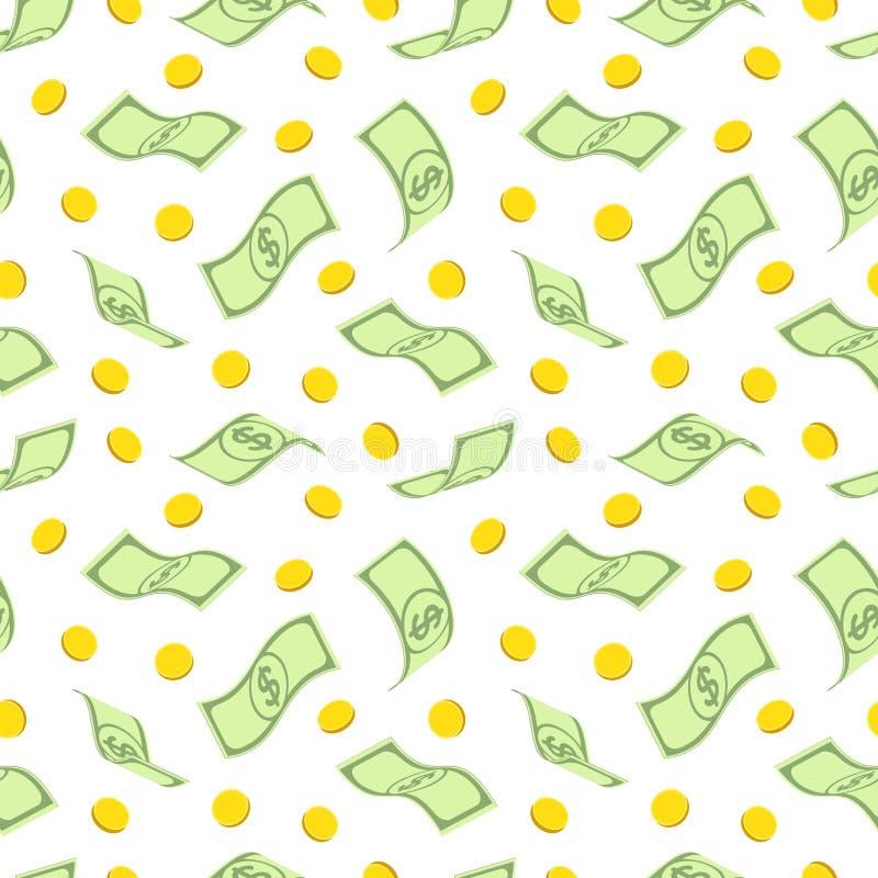 Modelo inconsútil con los dólares y las monedas de oro ilustración del vector