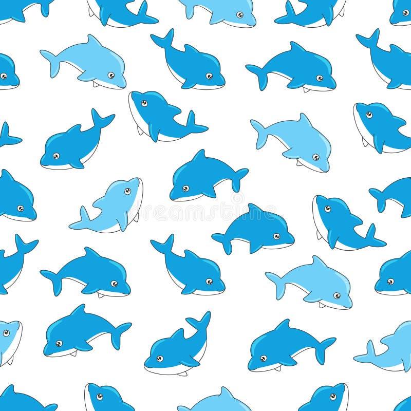 Modelo inconsútil con los delfínes stock de ilustración