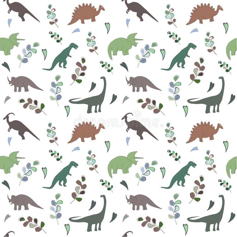 Modelo inconsútil con los dinosaurios de los multicolors y la hoja brillante en el fondo blanco stock de ilustración