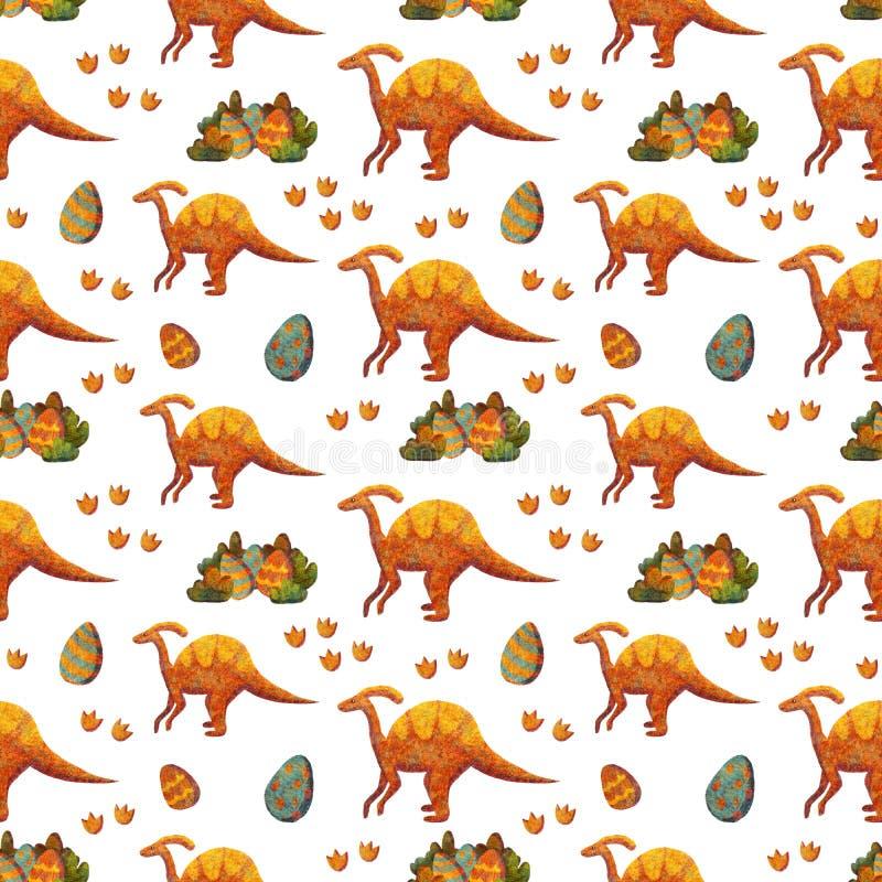 Modelo inconsútil con los diversos dinosaurios lindos azules y anaranjados libre illustration