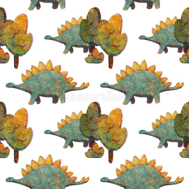 Modelo inconsútil con los diversos dinosaurios lindos azules y anaranjados ilustración del vector