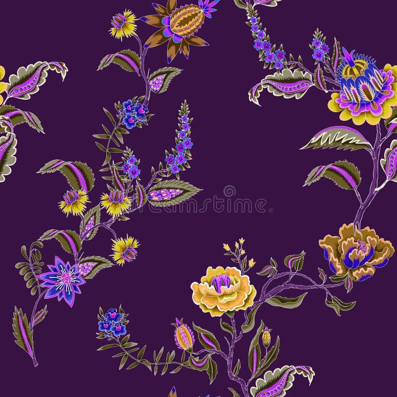 Modelo inconsútil con los elementos étnicos indios del ornamento Flores y hojas populares para la impresión o el bordado Ilustrac ilustración del vector