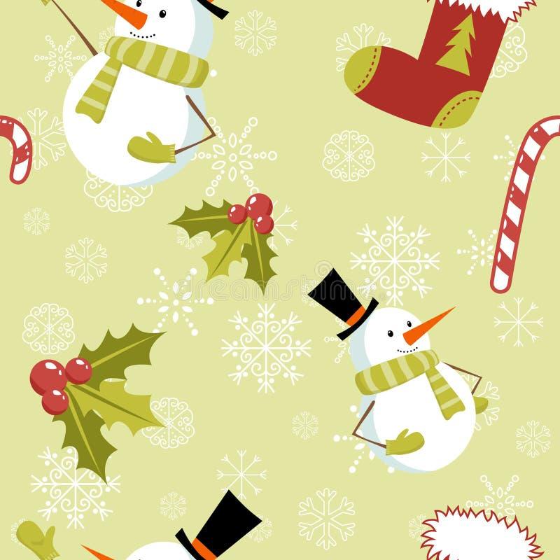 Modelo inconsútil con los elementos de la Navidad stock de ilustración