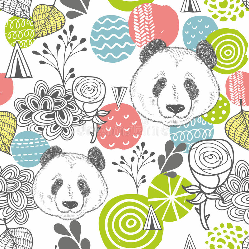 Modelo inconsútil con los elementos del diseño y las cabezas abstractos de la panda stock de ilustración