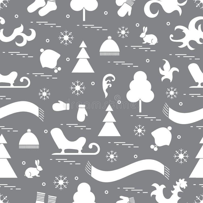 Modelo inconsútil con los elementos del invierno de la variedad: trineo, árbol, sc libre illustration