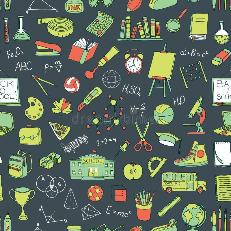 Modelo inconsútil con los elementos dibujados mano de la escuela libre illustration