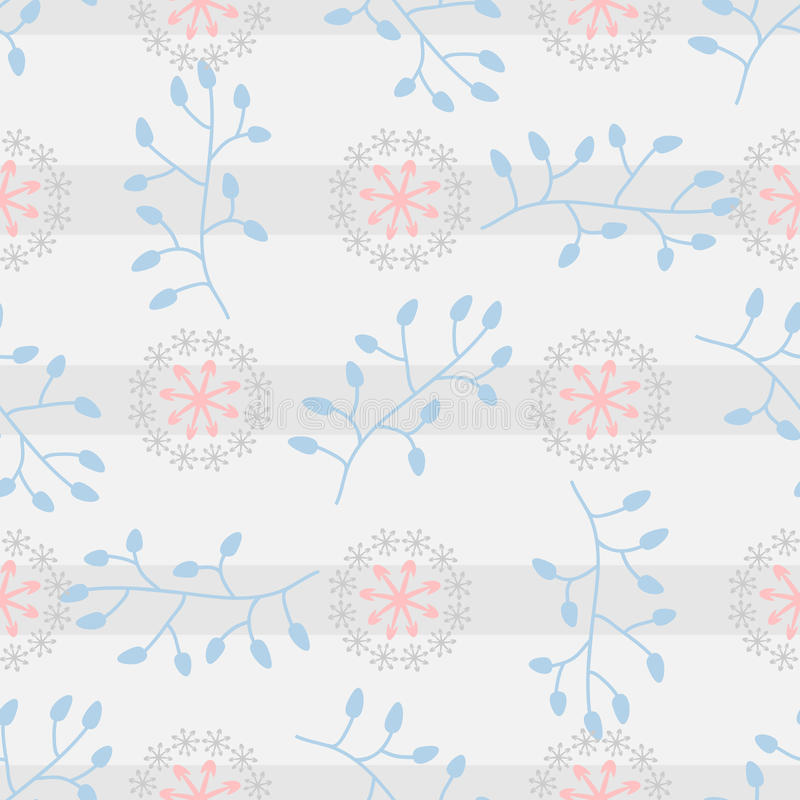 Modelo inconsútil con los elementos florales abstractos en un fondo rayado libre illustration
