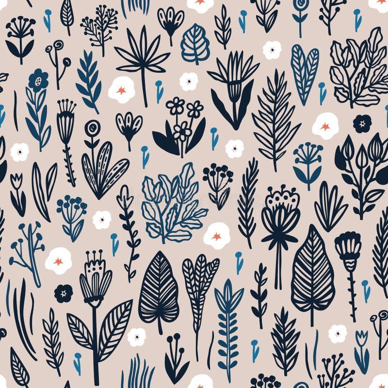 Modelo inconsútil con los elementos florales Perfeccione para la tela y las impresiones de papel libre illustration
