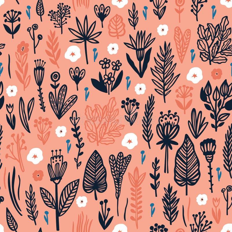 Modelo inconsútil con los elementos florales Perfeccione para la tela y las impresiones de papel ilustración del vector