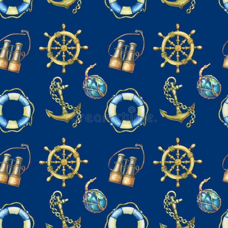 Modelo inconsútil con los elementos náuticos, en fondo azul marino Mar viejo binocular, salvavidas, dirección antigua del velero stock de ilustración