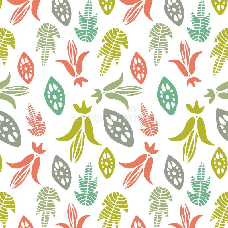 Modelo inconsútil con los elementos y las hojas florales Fondo abstracto del vector stock de ilustración