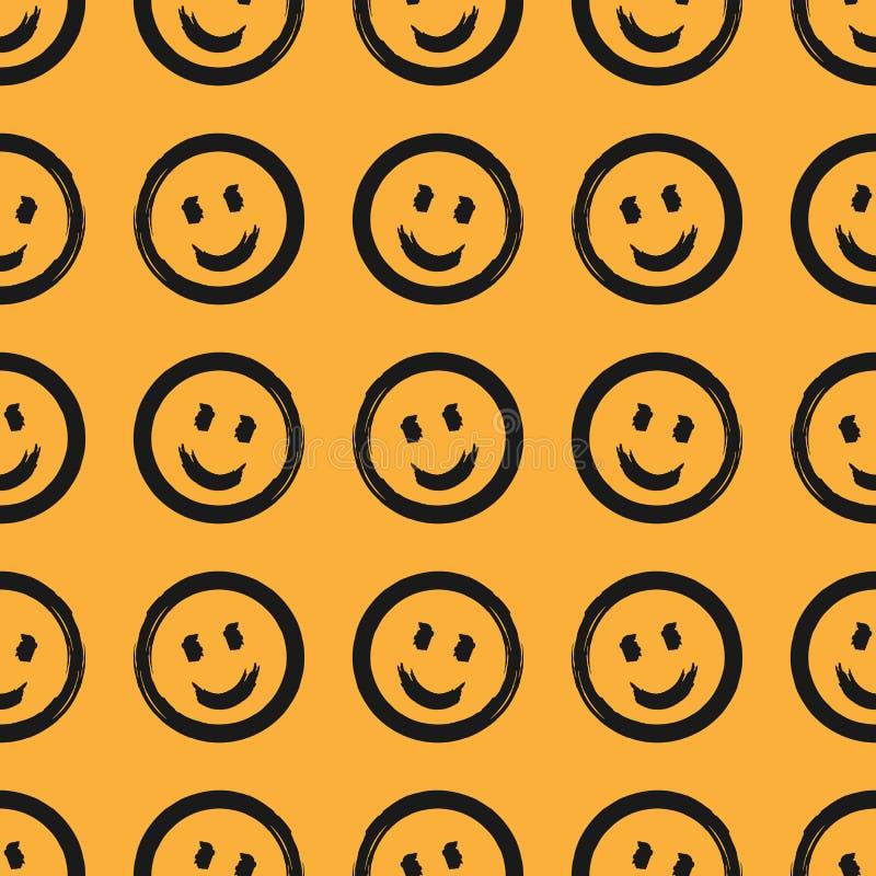 Modelo inconsútil con los emoticons sonrientes redondos dibujados a mano con el cepillo áspero Bosquejo, grunge, acuarela libre illustration