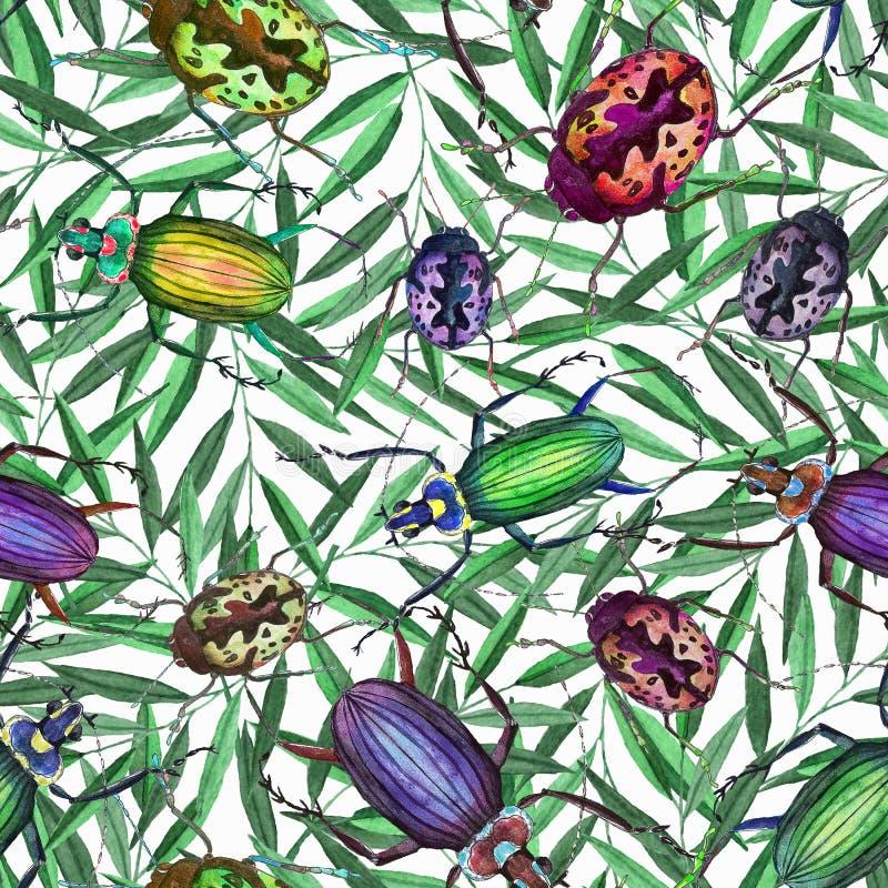 Modelo inconsútil con los escarabajos y las ramas de la acuarela stock de ilustración