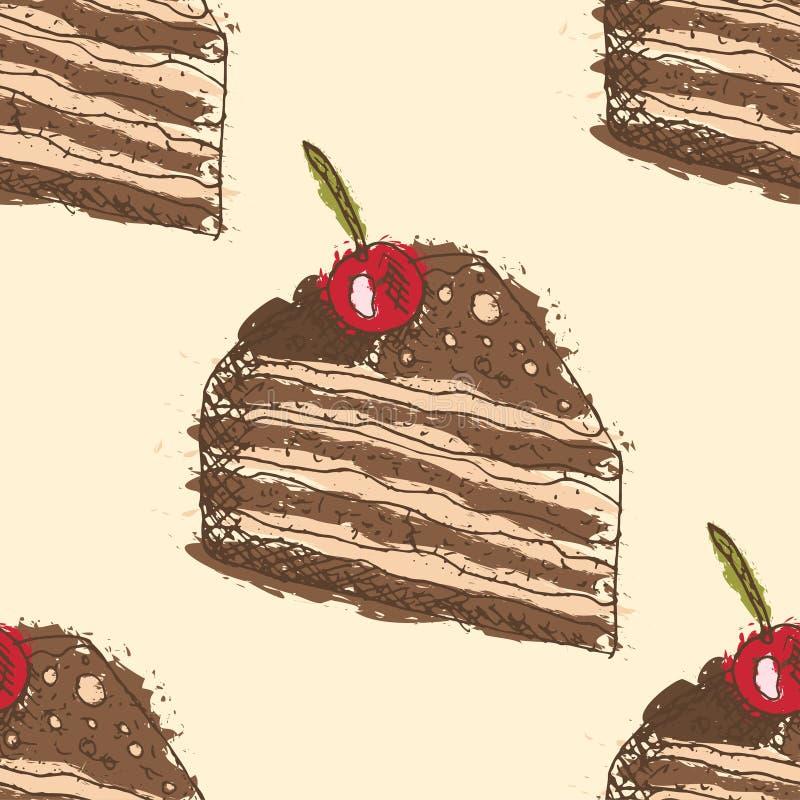 Modelo inconsútil con los esquemas dibujados mano de la torta de chocolate con la cereza con el terraplén abstracto en fondo amar libre illustration
