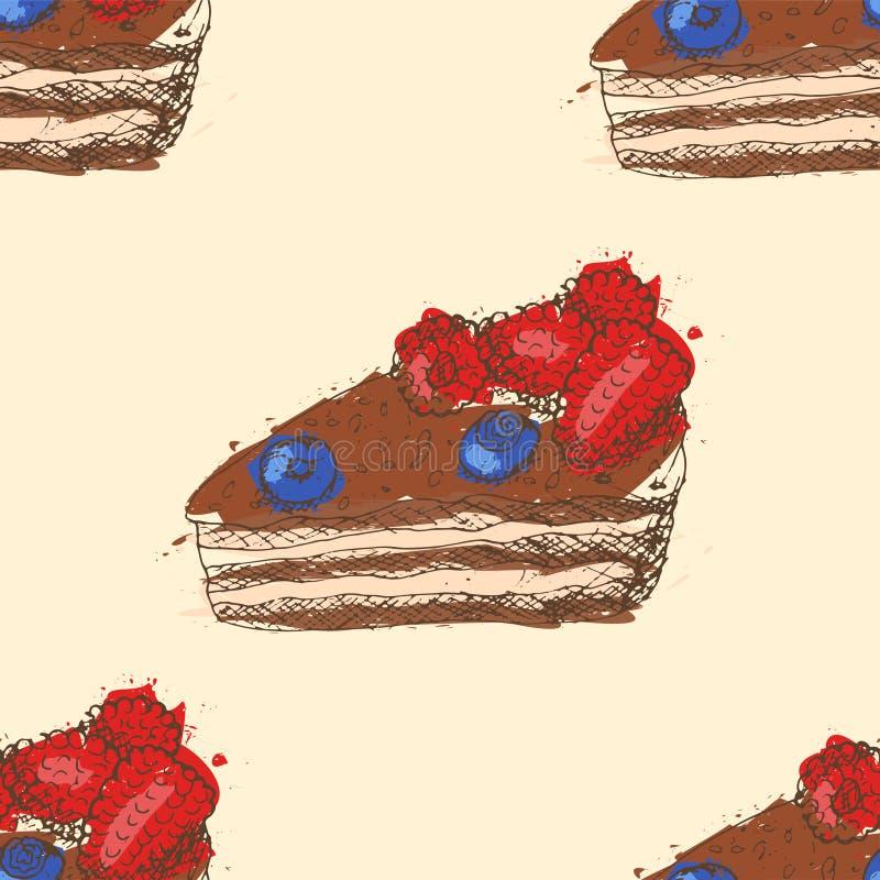 Modelo inconsútil con los esquemas dibujados mano de la torta de chocolate con las frambuesas y los arándanos con el terraplén ab ilustración del vector