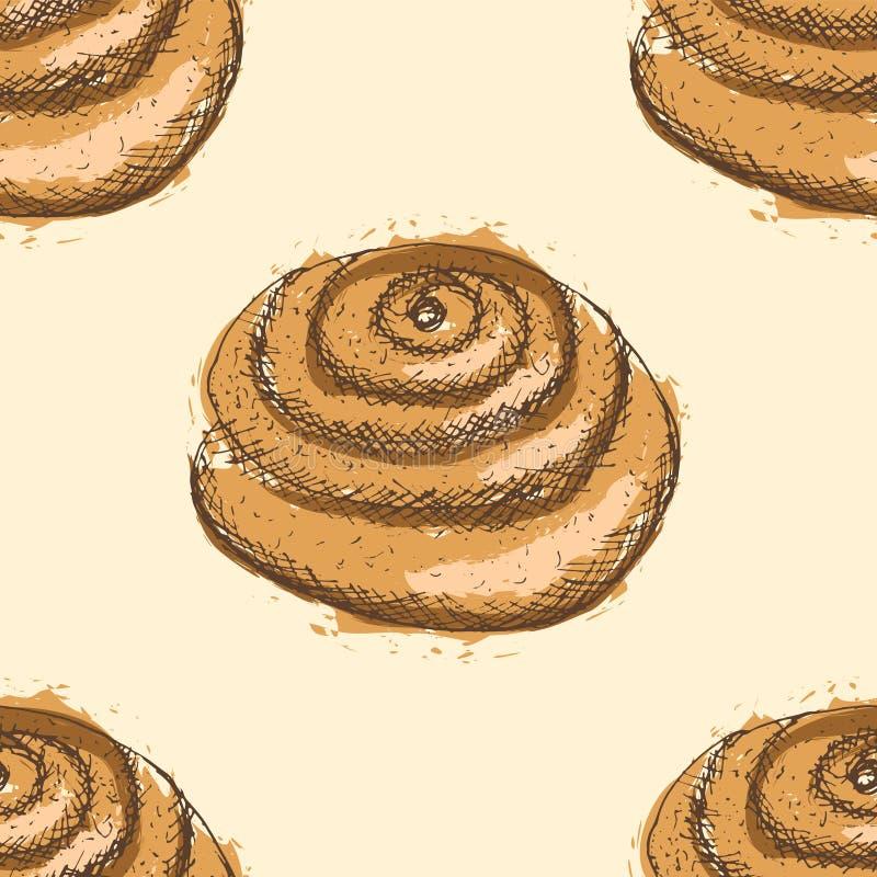 Modelo inconsútil con los esquemas dibujados mano del bollo con la amapola, terraplén marrón abstracto, en fondo beige libre illustration