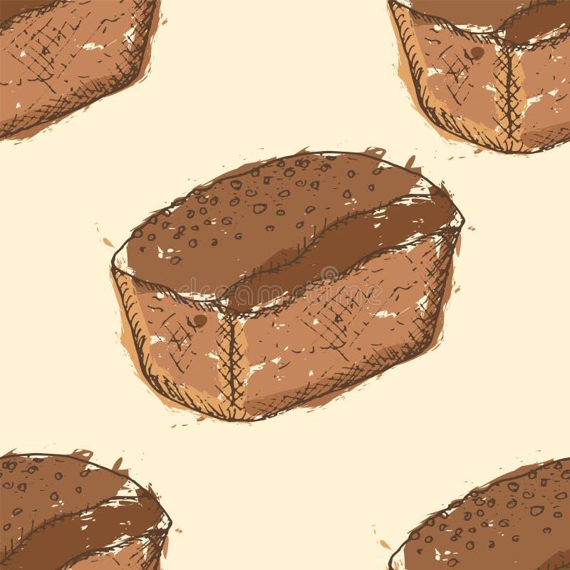 Modelo inconsútil con los esquemas dibujados mano del pan de centeno con el terraplén marrón abstracto en fondo amarillo stock de ilustración
