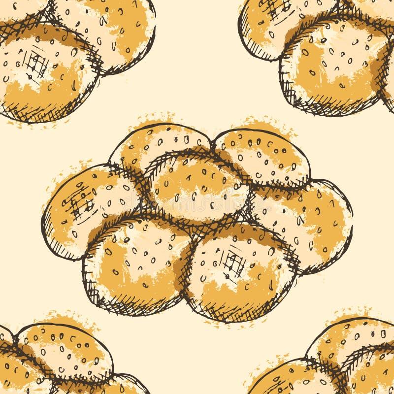 Modelo inconsútil con los esquemas dibujados mano del pan en la forma de una flor con el terraplén abstracto en fondo amarillo stock de ilustración