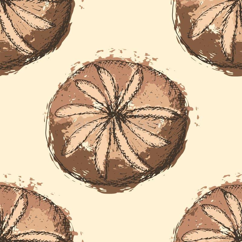 Modelo inconsútil con los esquemas dibujados mano del pan redondo con el terraplén abstracto en fondo amarillo libre illustration