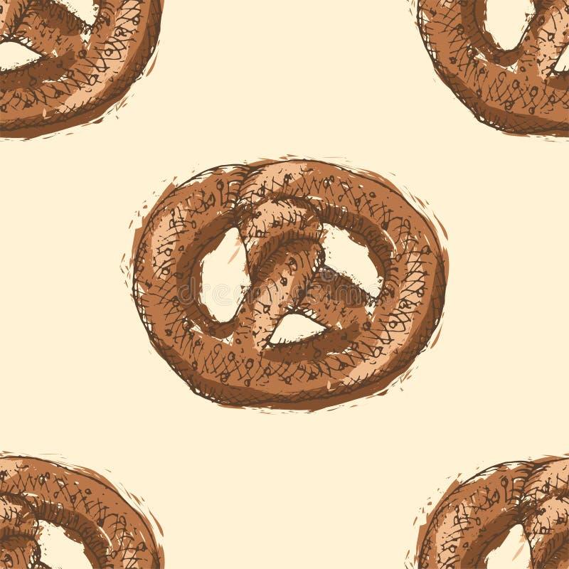 Modelo inconsútil con los esquemas dibujados mano del pretzel con el terraplén marrón en fondo amarillo libre illustration