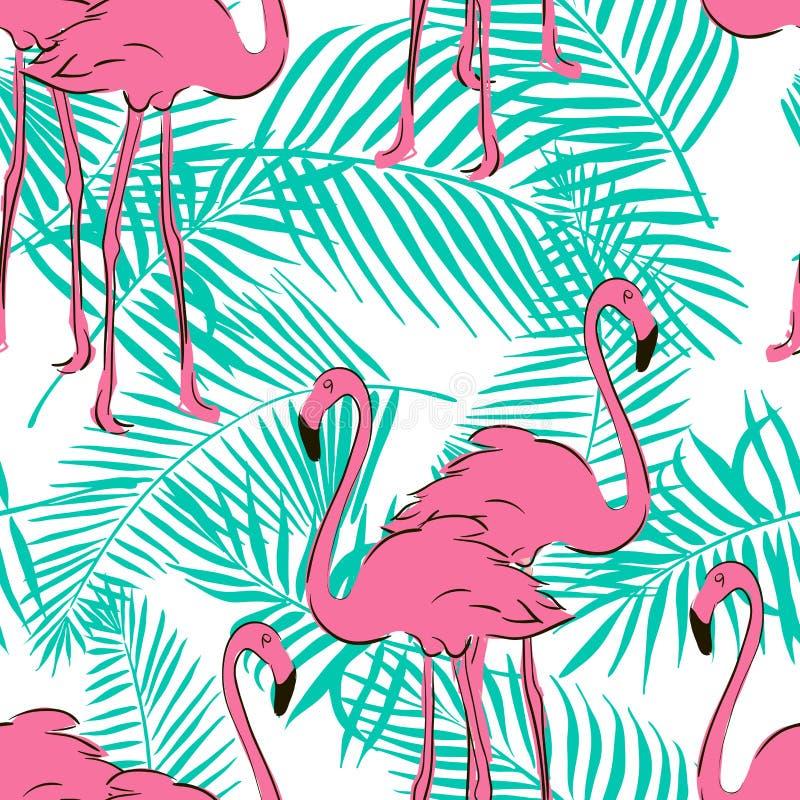 Modelo inconsútil con los flamencos del rosa en colores pastel stock de ilustración