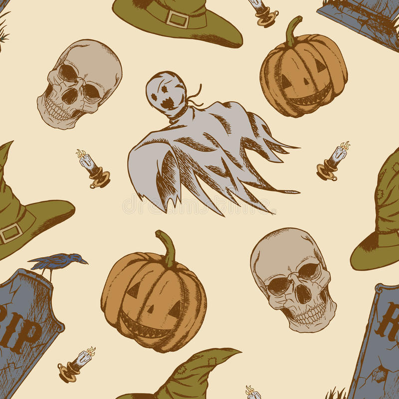 Modelo inconsútil con los garabatos dibujados mano de Halloween stock de ilustración