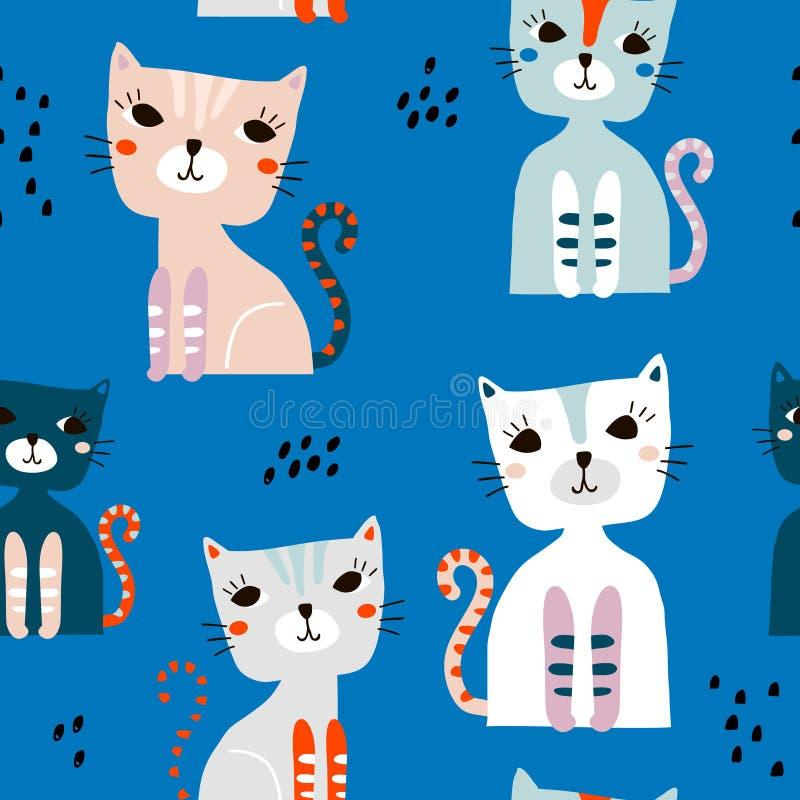 Modelo inconsútil con los gatos coloridos lindos y los elementos exhaustos de la mano Textura infantil creativa Grande para la te stock de ilustración