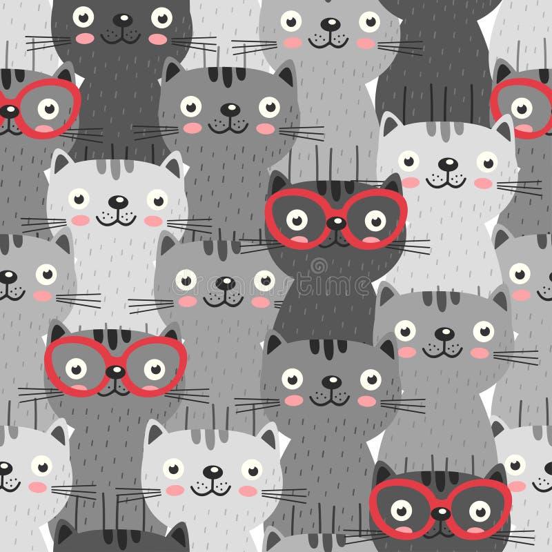 Modelo inconsútil con los gatos grises en vidrios rojos stock de ilustración
