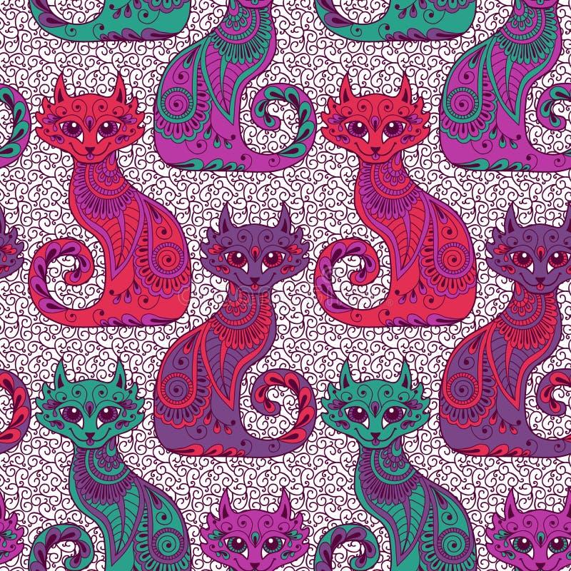 Download Modelo Inconsútil Con Los Gatos Hermosos Ilustración del Vector - Ilustración de saludo, historieta: 42429741