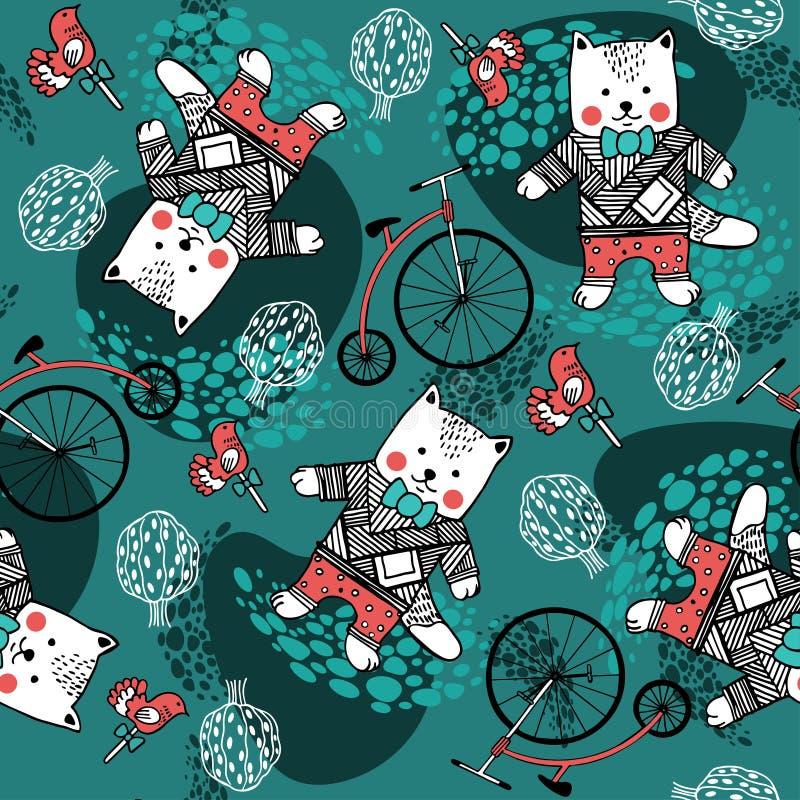 Modelo inconsútil con los gatos, las bicis, los árboles y los caramelos stock de ilustración