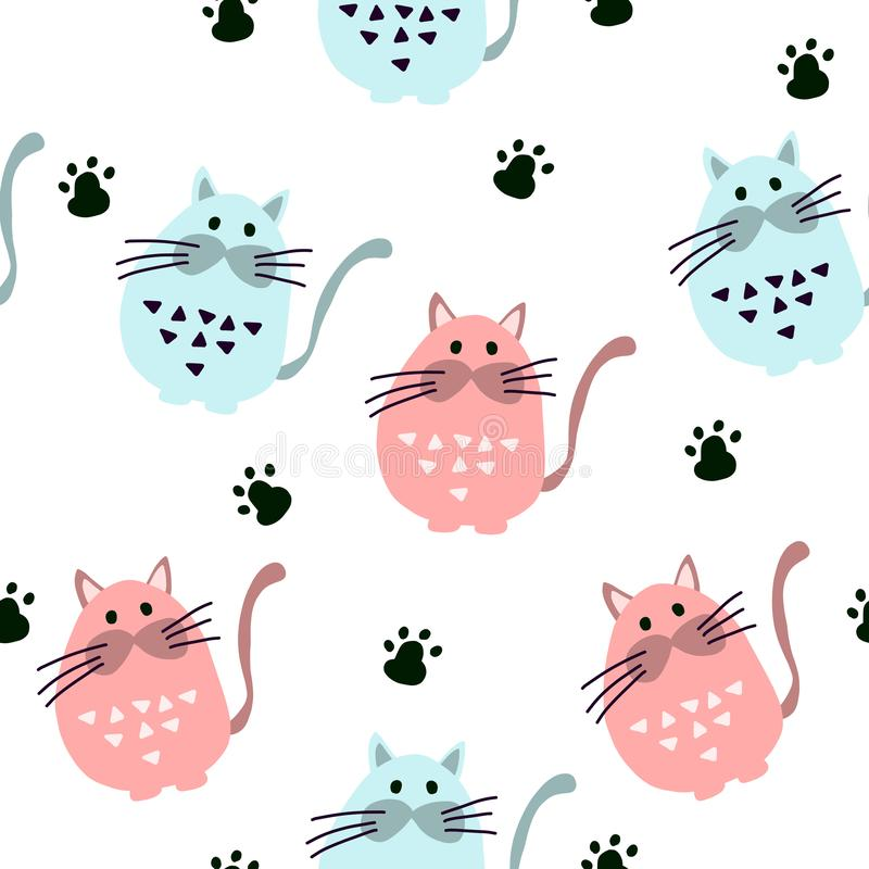 Modelo inconsútil con los gatos lindos en estilo escandinavo libre illustration