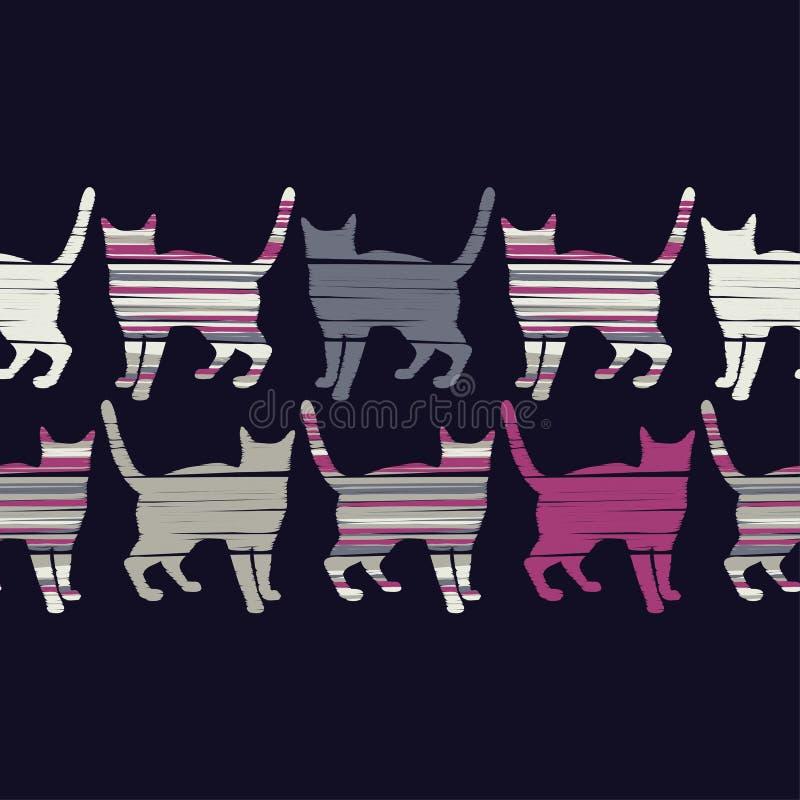 Modelo inconsútil con los gatos lindos Un modelo de los gatos del pixel Gatos preciosos divertidos ilustración del vector