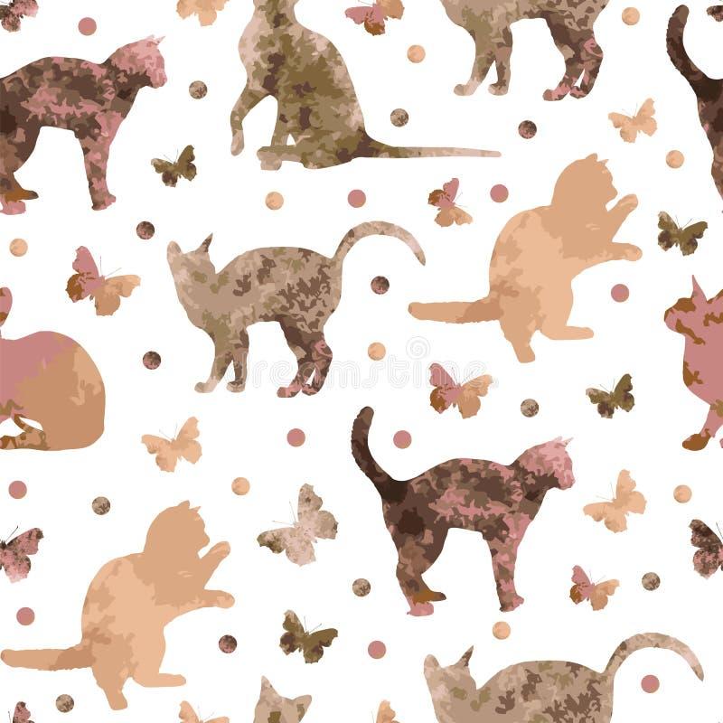 Modelo inconsútil con los gatos lindos y las mariposas del café aislados en el fondo blanco Vector eps10 stock de ilustración