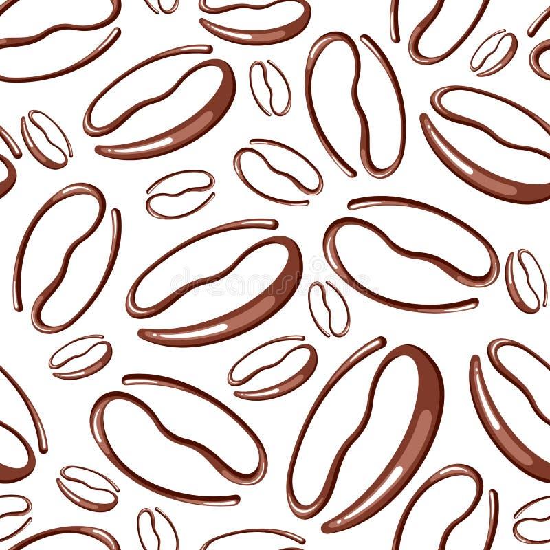 Modelo inconsútil con los granos de café stock de ilustración